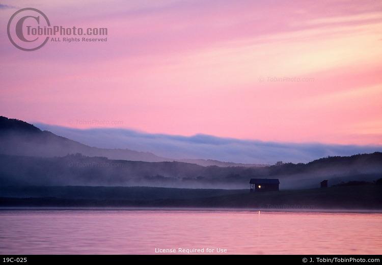 Kodiak Cabin at Sunset