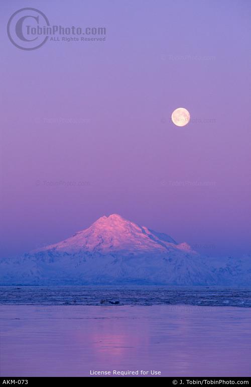Redoubt Volcano & Moon